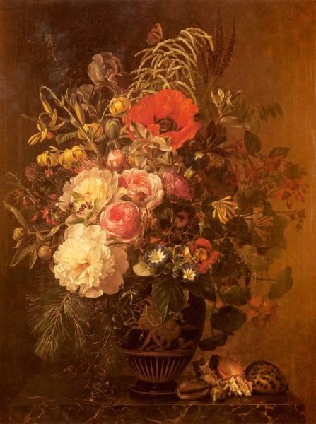 A Still Life With FlowersIn A Greek Vase